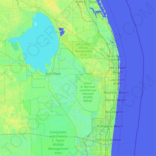 Palm Beach County topographic map, relief map, elevations map