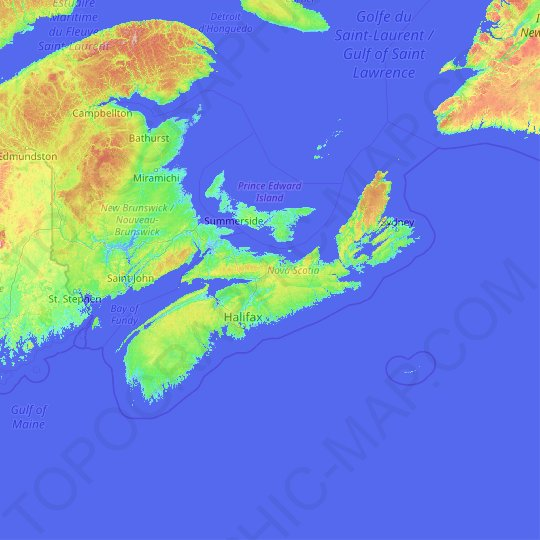 Nova Scotia topographic map, relief map, elevations map