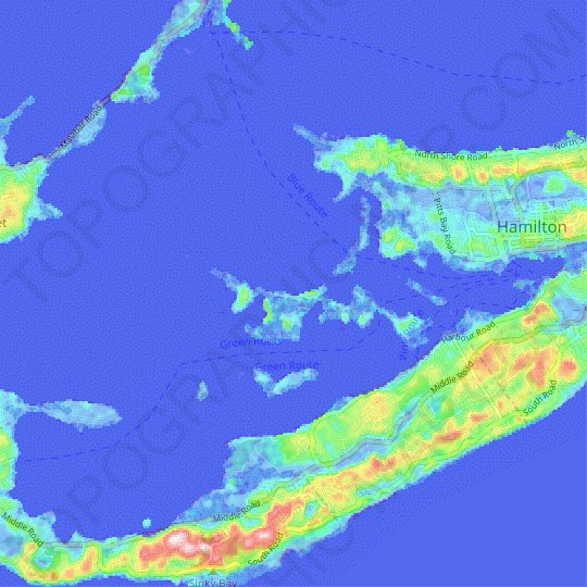 Long Island topographic map, relief map, elevations map