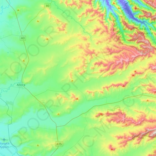 Dalrymple Creek topographic map, relief map, elevations map
