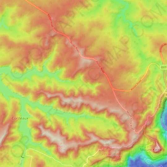 Kentish Creek topographic map, elevation, relief