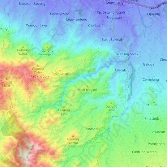 Citeureup topographic map, relief map, elevations map
