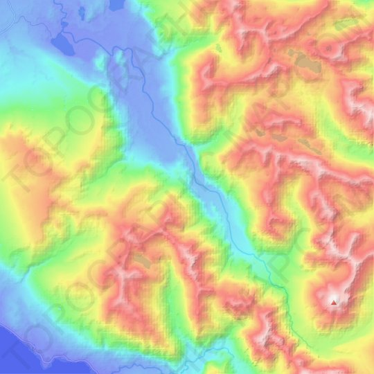 Río Huequi topographic map, relief map, elevations map