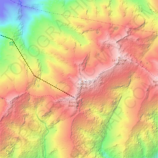 Bourgoin (North) Glacier topographic map, relief map, elevations map