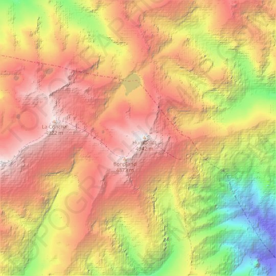 La Corona Glacier topographic map, relief map, elevations map
